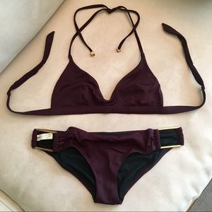 GAP gorgeous wine color bikini w brass accents